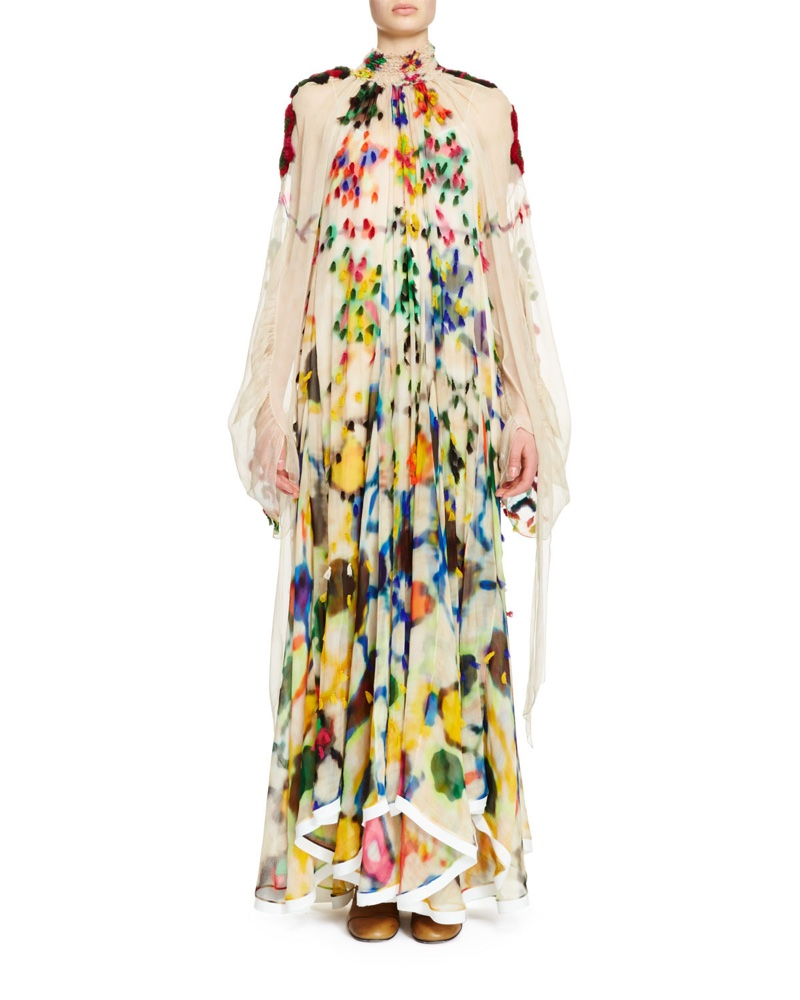 Chloe Long Sleeve Mock Neck Inkblot Maxi Dress