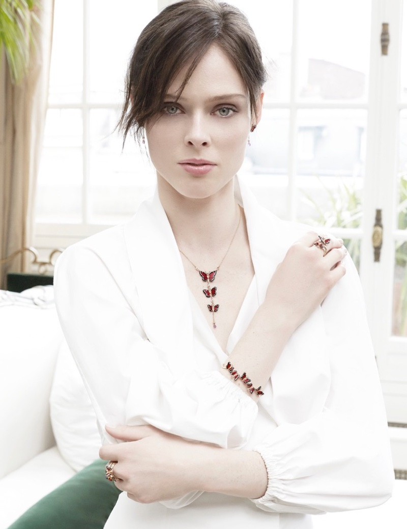 Coco Rocha wears butterfly adorned jewelry from Roberto Bravo