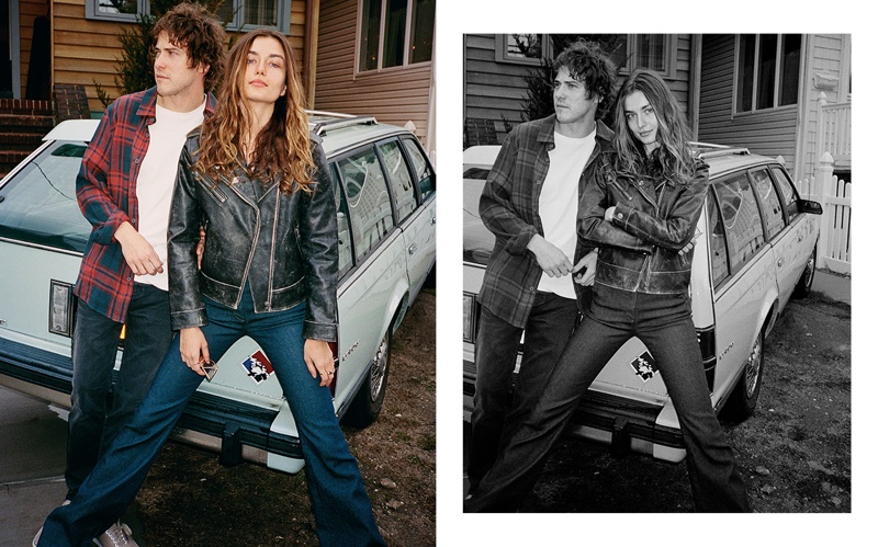 Andreea Diaconu and boyfriend Andrew Vanwyngarden wear his and hers denim in Current/Elliott's fall 2016 campaign