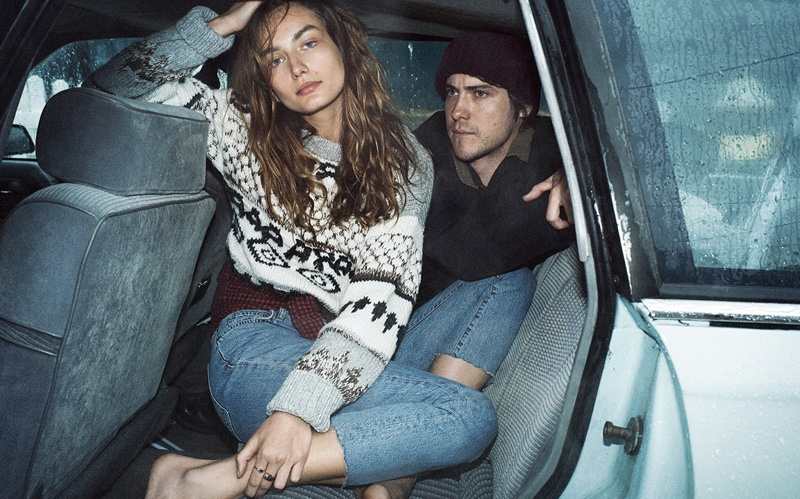 Andreea Diaconu wears knit sweater from Current/Elliott's fall 2016 collection