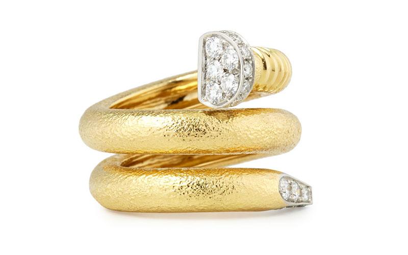 David Webb 18k Diamond Hammered Nail Shaped Ring