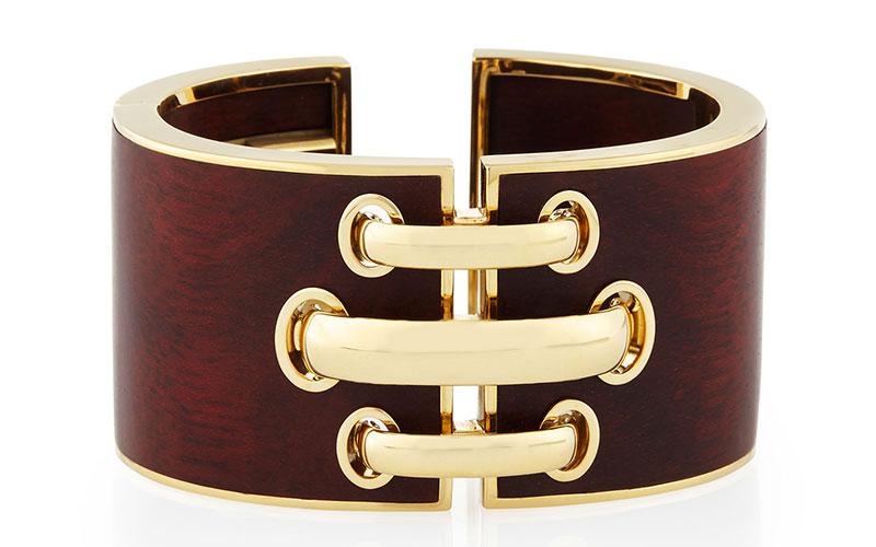 David Webb 18k Gold Bloodwood Shoelace Cuff Bracelet