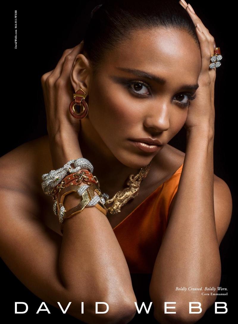 Cora Emmanuel stars in jeweler David Webb's fall-winter 2016 campaign