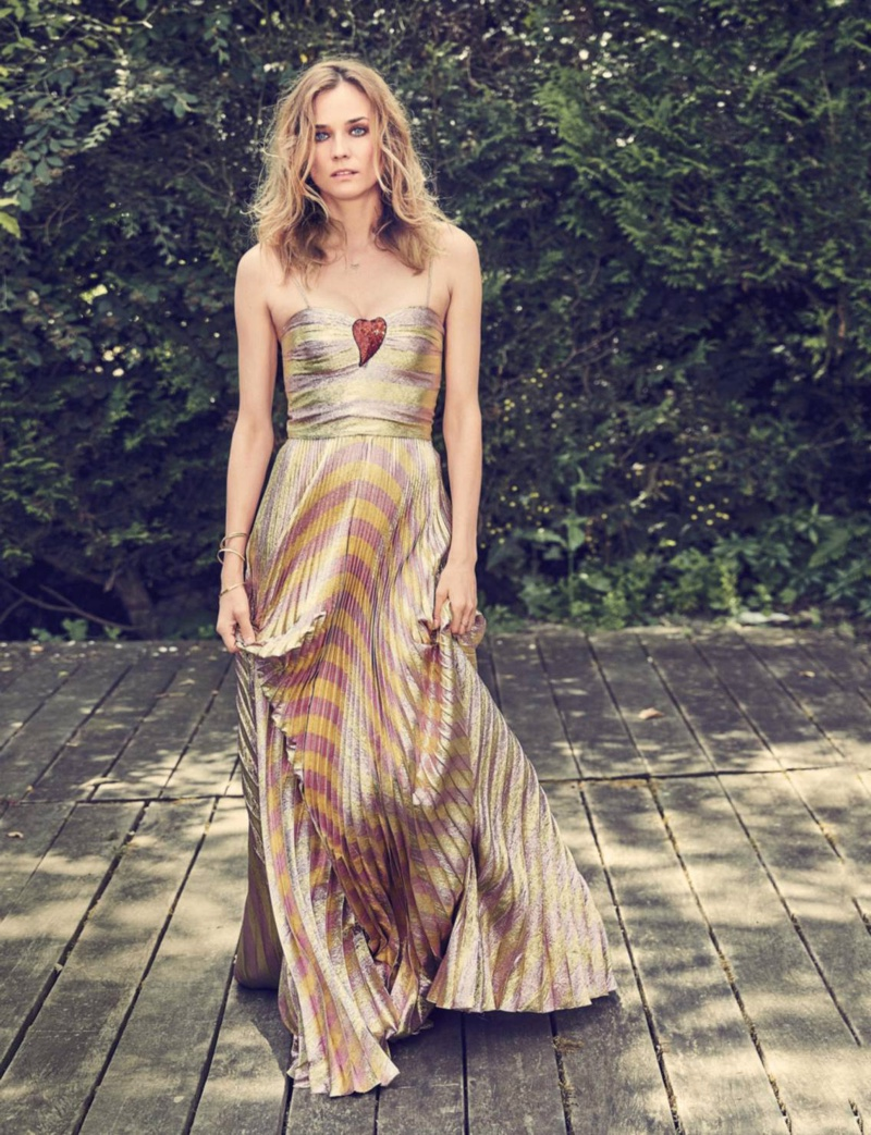 Diane Kruger wears floor-length dress from Gucci