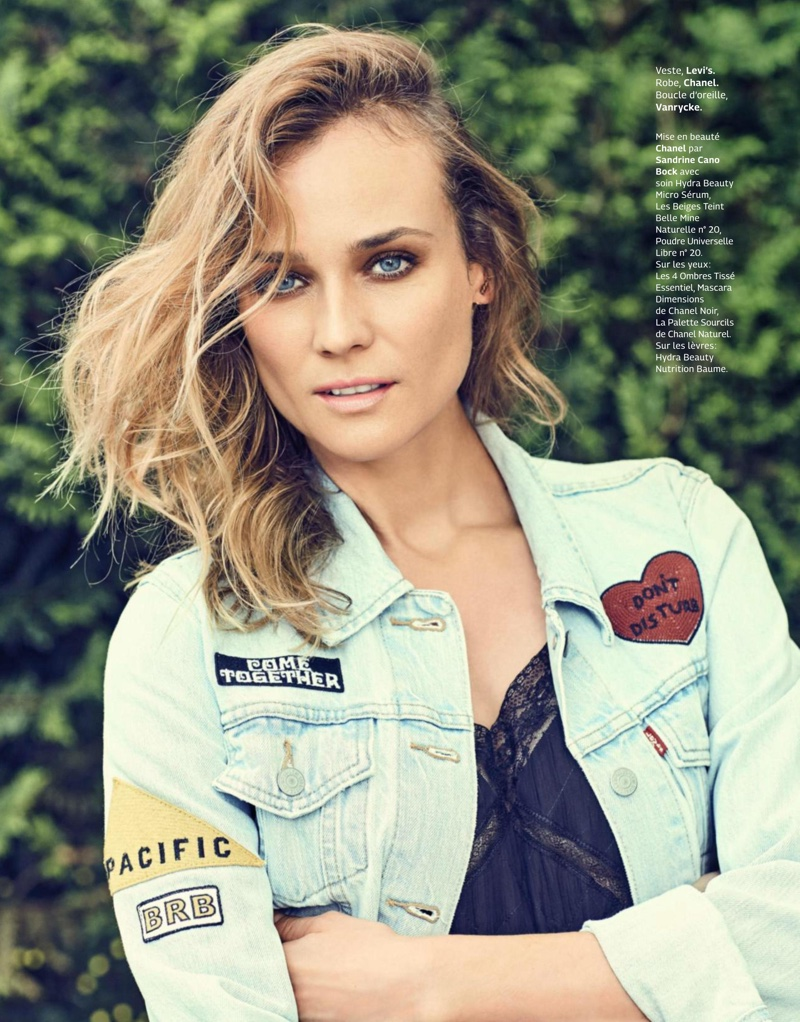 Diane Kruger wears embroidered Levi's jacket with Chanel dress