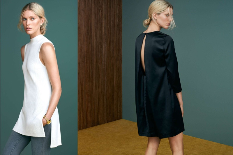 (Left) H&M Ribbed Tunic and Slim-Fit Pants (Right) 3/4 Sleeve Black Dress