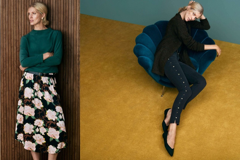 (Left) H&M Long-Sleeved Silk Blouse, Belt and Patterned Skirt (Right) H&M Mohair-Blend Cardigan, Slim Regular Ankle Jeans and Ballet Flats