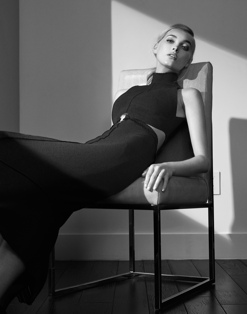 Photographed by Manolo Campion, the model wears minimal looks