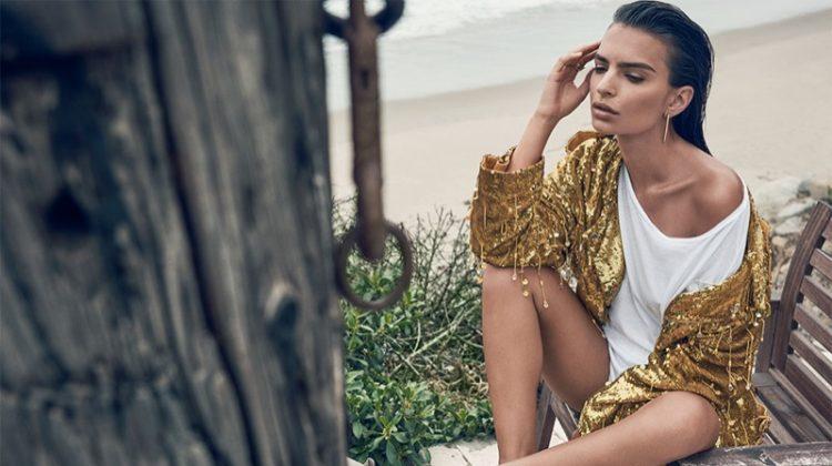 Emily Ratajkowski Sparkles in Sequins for C Magazine Spread