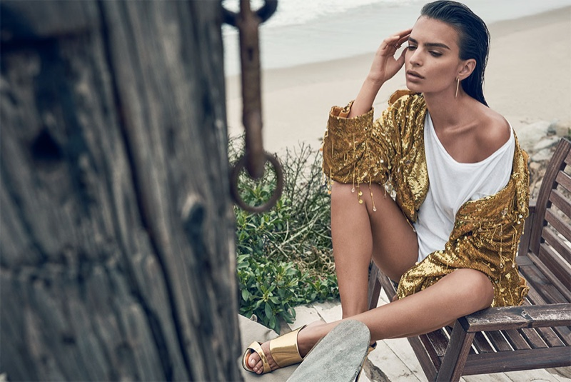 Emily Ratajkowski Sparkles in Sequins for C Magazine Spread