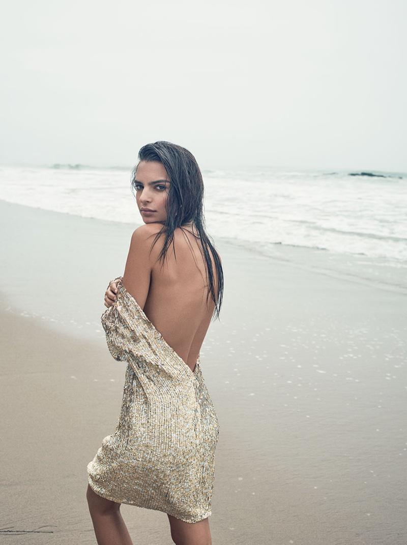 Emily Ratajkowski models sequin-embellished Just Cavalli dress