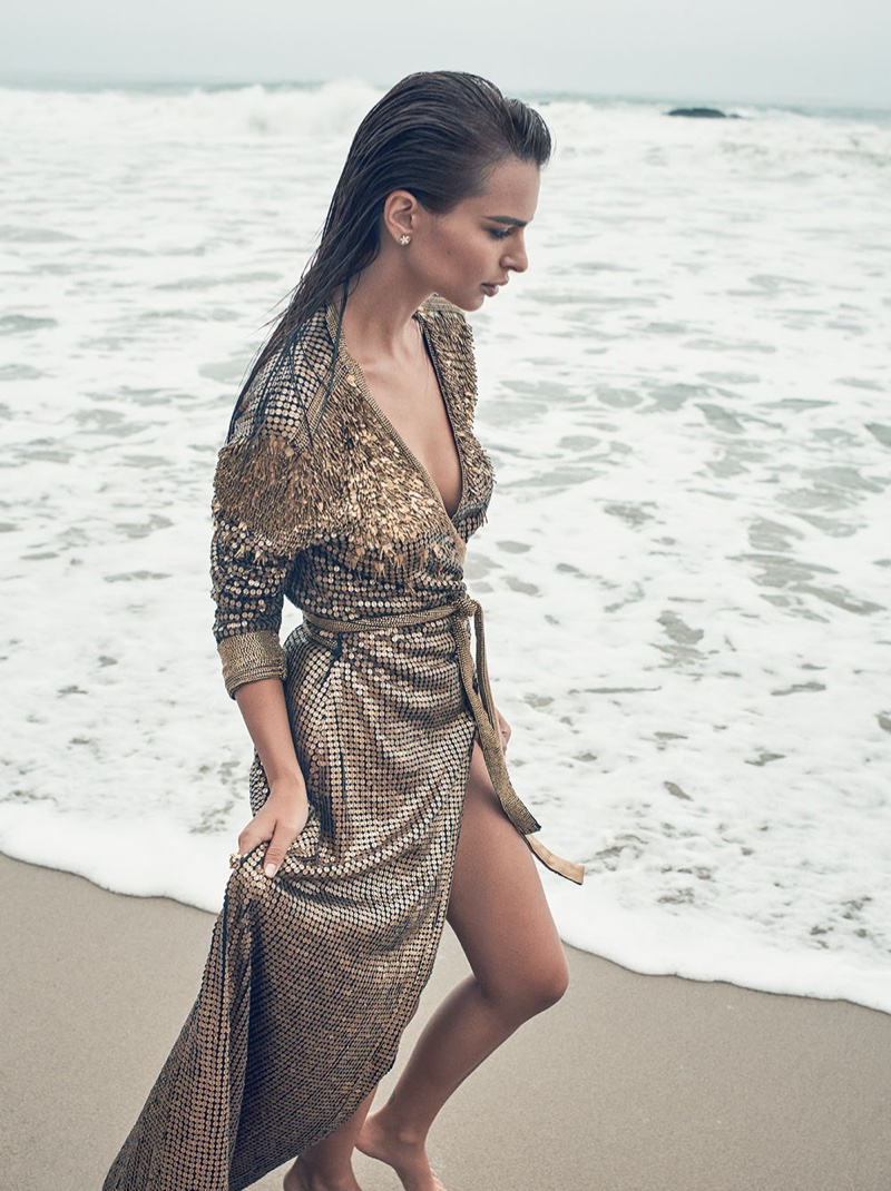Walking on the sand, Emily Ratajkowski wears wrap dress by Diane von Furstenberg