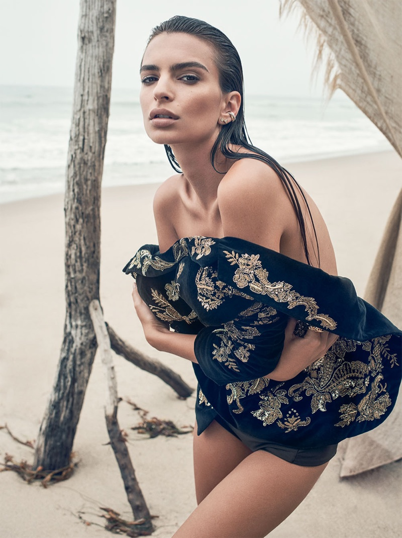 Model Emily Ratajkowski poses in embroidered Ralph Lauren Collection jacket