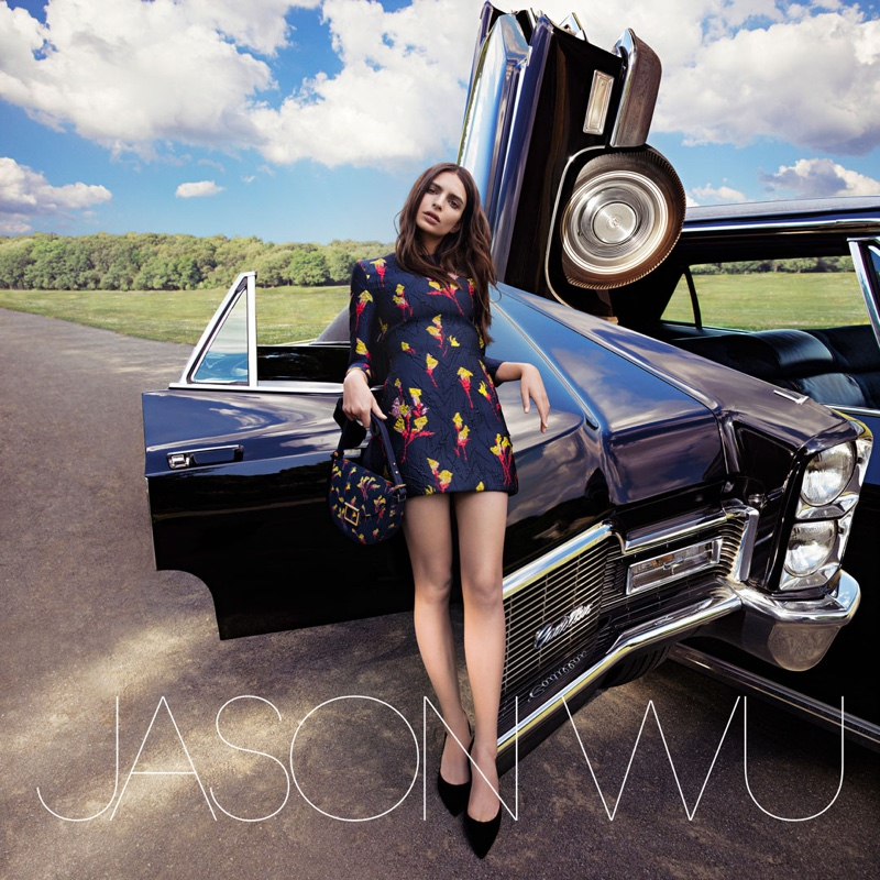 Emily Ratajkowski poses with a vintage Cadillac in Jason Wu's fall 2016 campaign