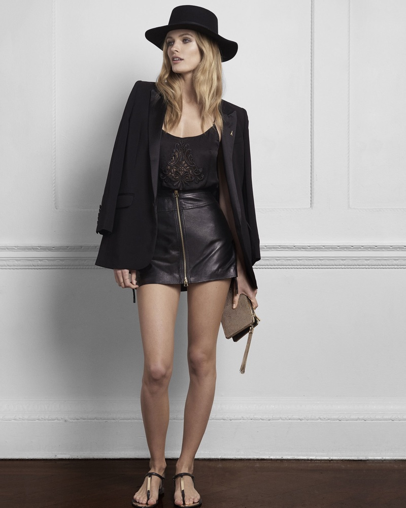 Express Edition Drapey Boyfriend Blazer, Embroidered Silk Cami and Side Laced Leather Mini Skirt