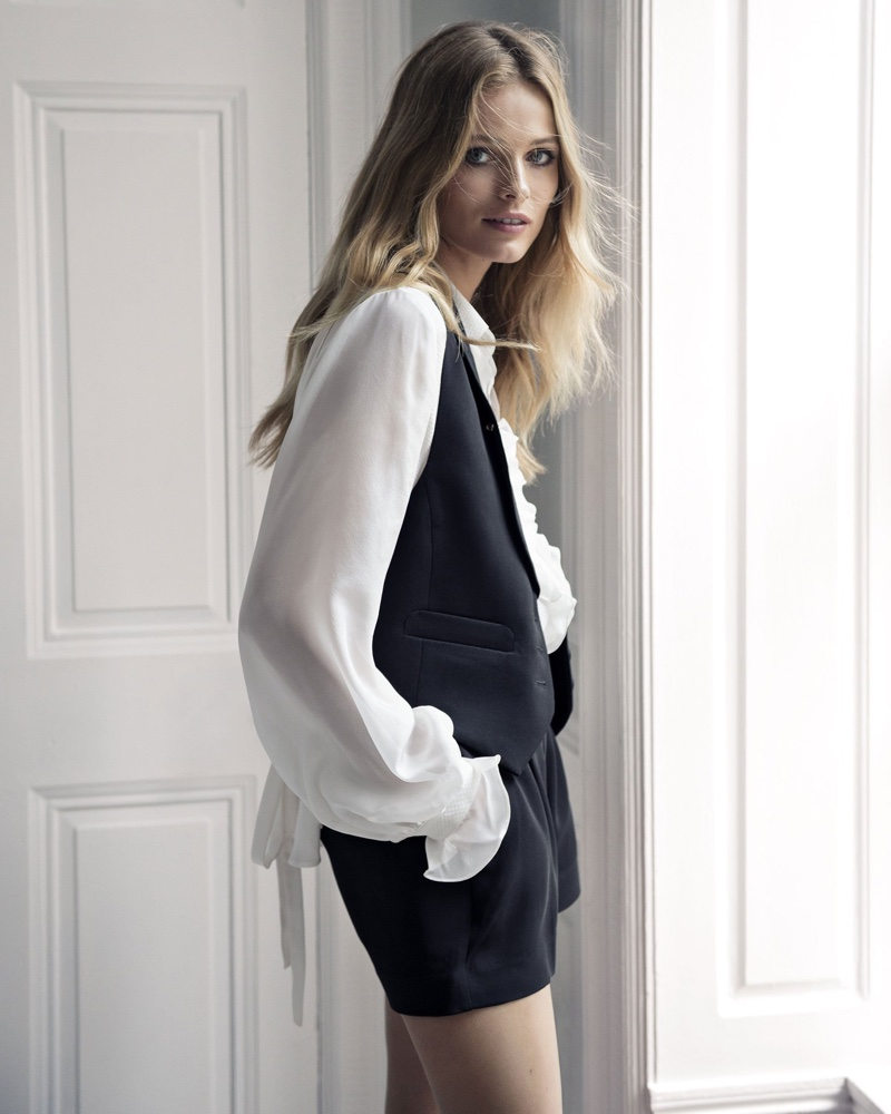 Express Edition Black and White Shawl Collar Vest, Ruffle Blouse and Black Pleated Shorts