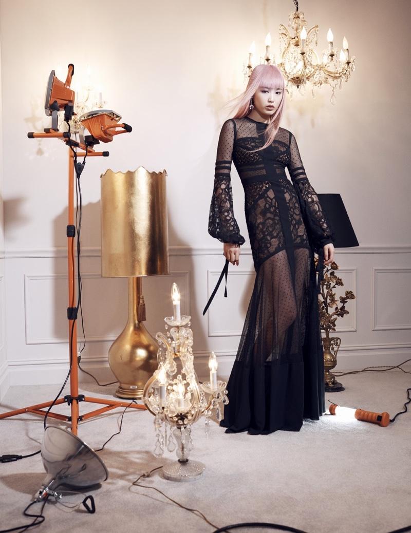 Fernanda Ly models black gown from Elie Saab