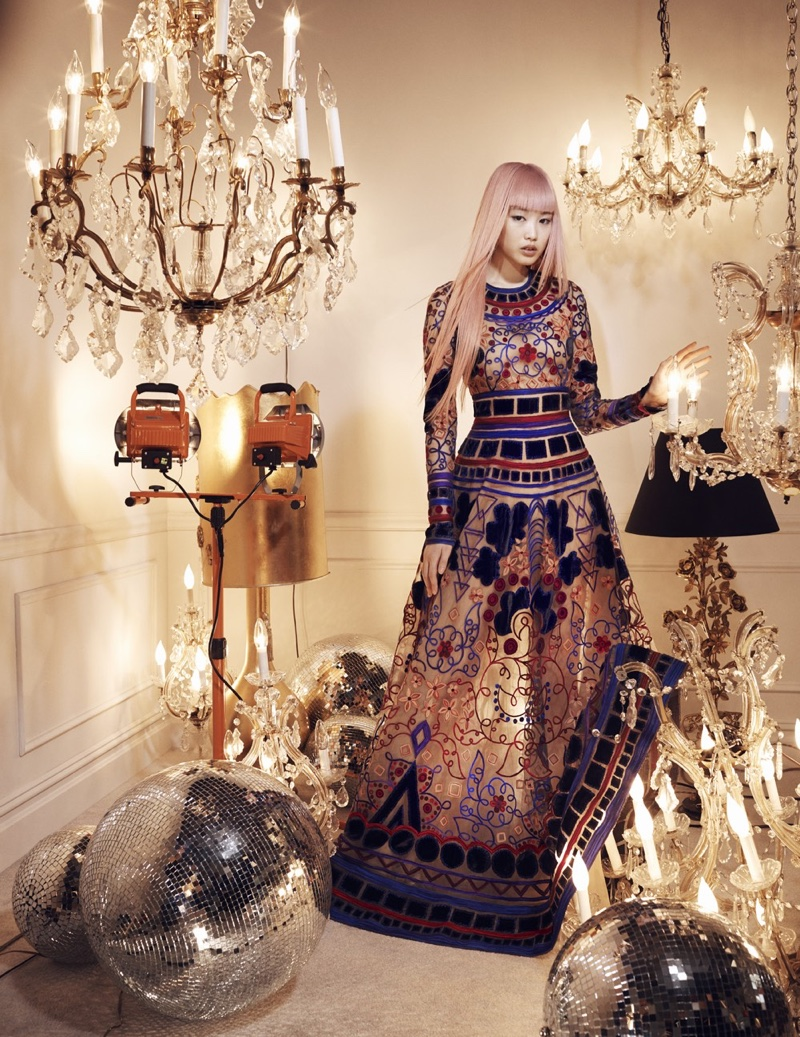 Fernanda Ly models embroidered gown from Naeem Khan