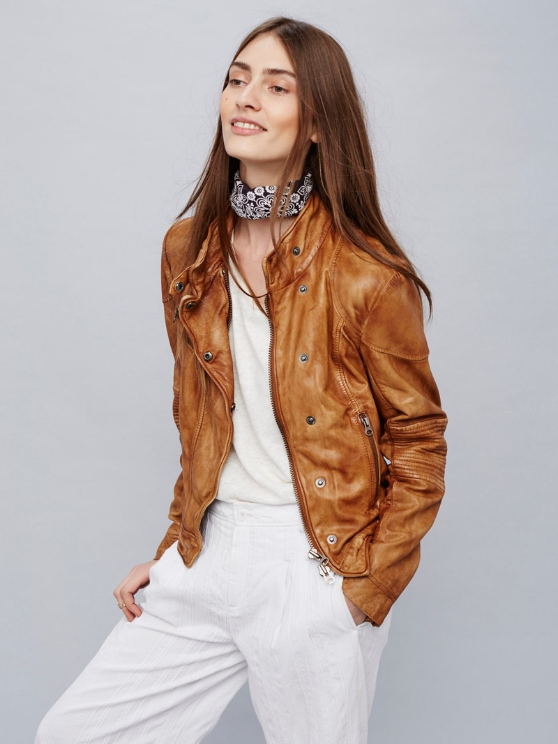 Free People Fitted Rugged Leather Jacket in Brown