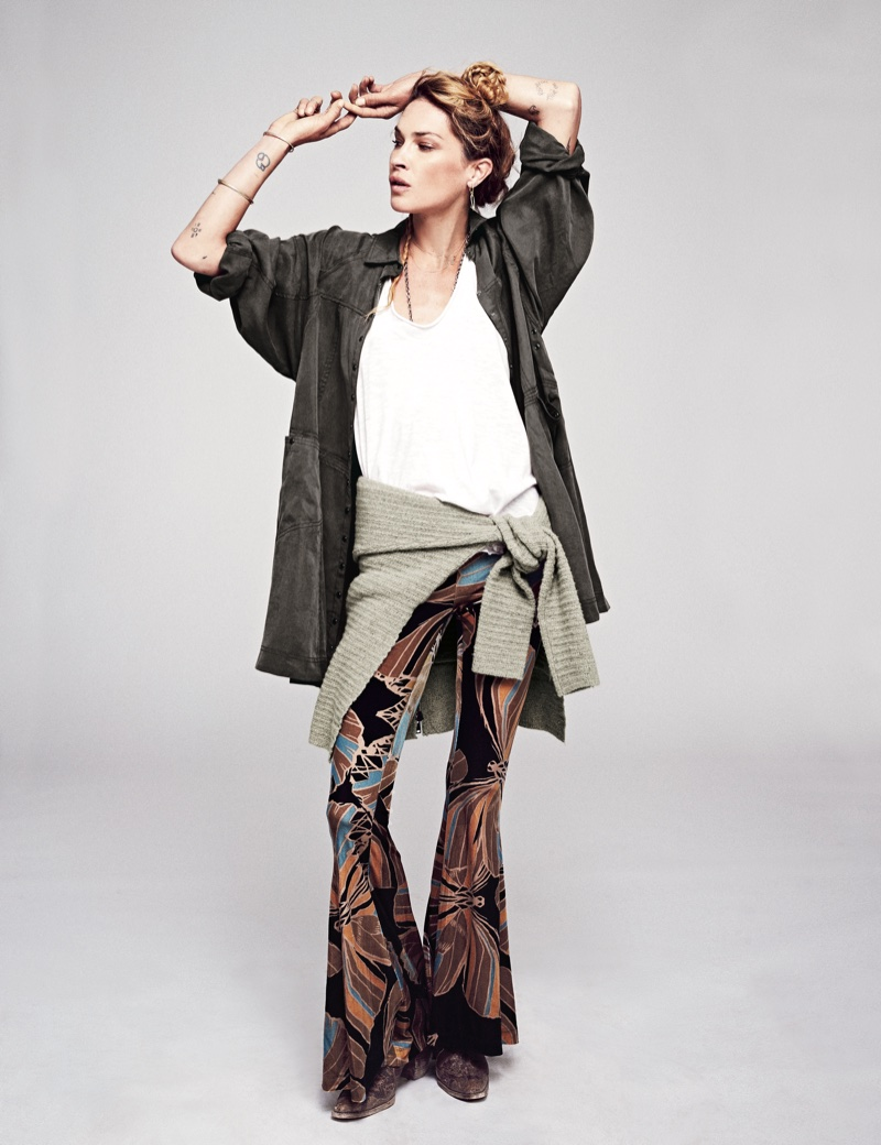 Free People Tough as Nails Shirt Dress, We the Free Phoebe Tee and Free People Float Away Velvet Flare