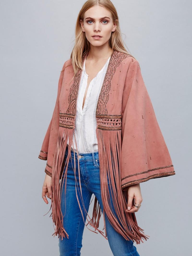 Free People Dramatic Sleeve Suede Kimono with Fringe