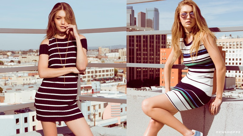 Gigi Hadid wears striped prints in Penshoppe's pre-holiday 2016 campaign