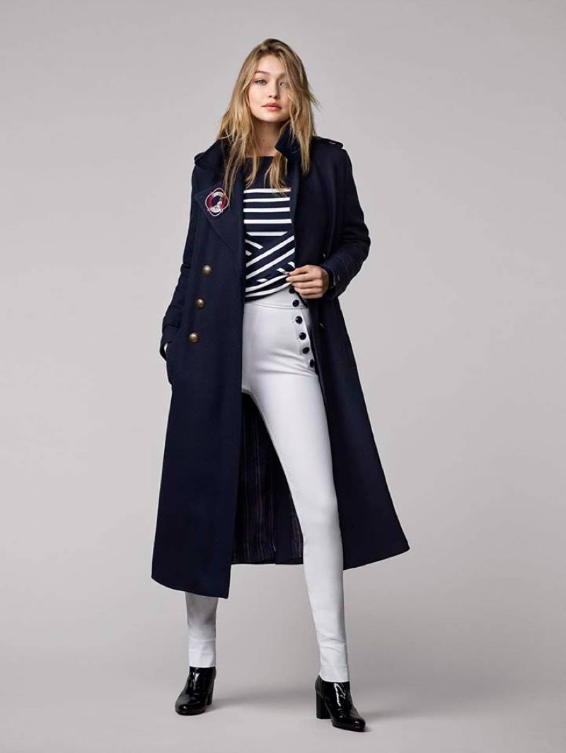 Gigi Hadid x Tommy Hilfiger Collection: Officer Coat, Striped Sweater, Super Skinny White Pants, Iconic Ankle Boots and Golden Girl Watch