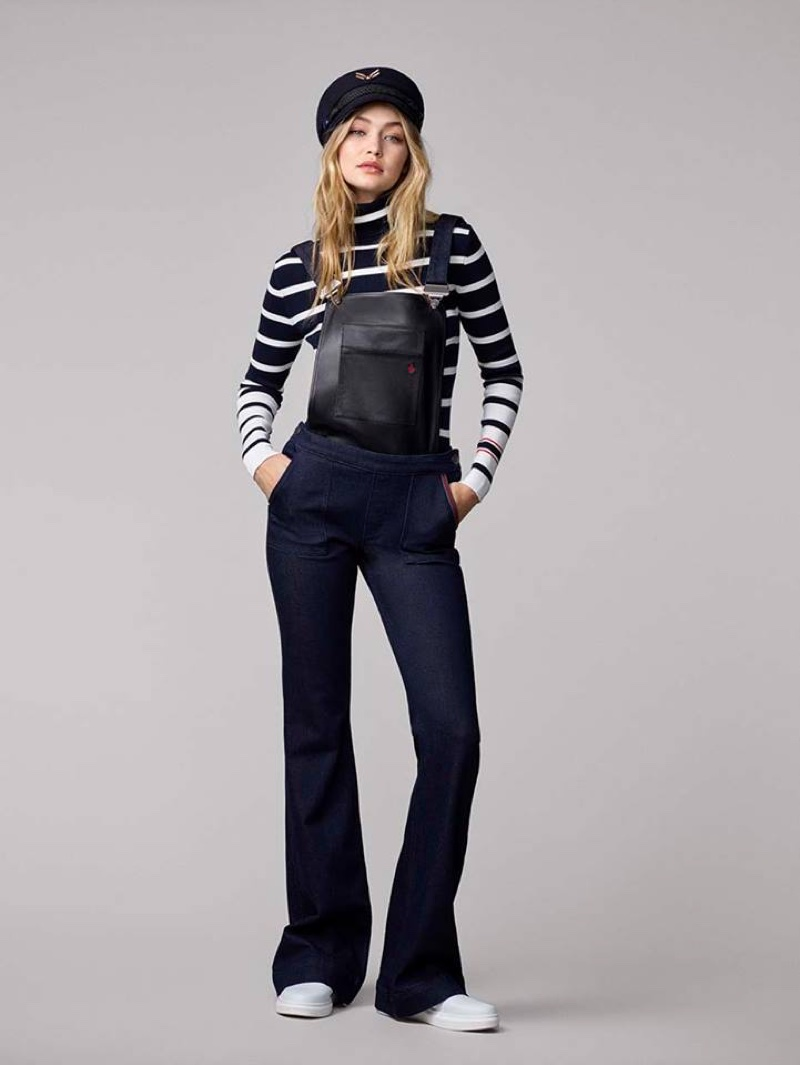 Gigi Hadid x Tommy Hilfiger Collection: Sailor Hat, Dungarees, Striped Turtleneck and White Slip-on Sneakers