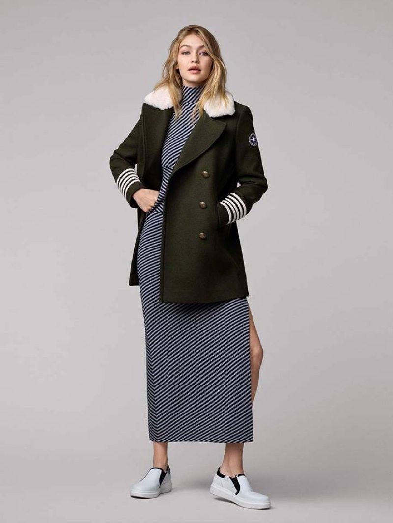 Gigi Hadid x Tommy Hilfiger Collection: Military Peacoat, Striped Dress and White Slip-on Sneakers