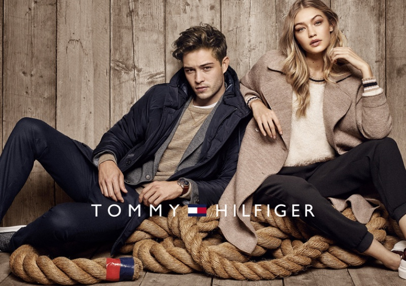 Gigi Hadid poses with Francisco Lachowski in Tommy Hilfiger's fall-winter 2016 campaign