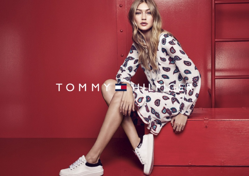 Gigi Hadid wears paisley print dress from Tommy Hilfiger
