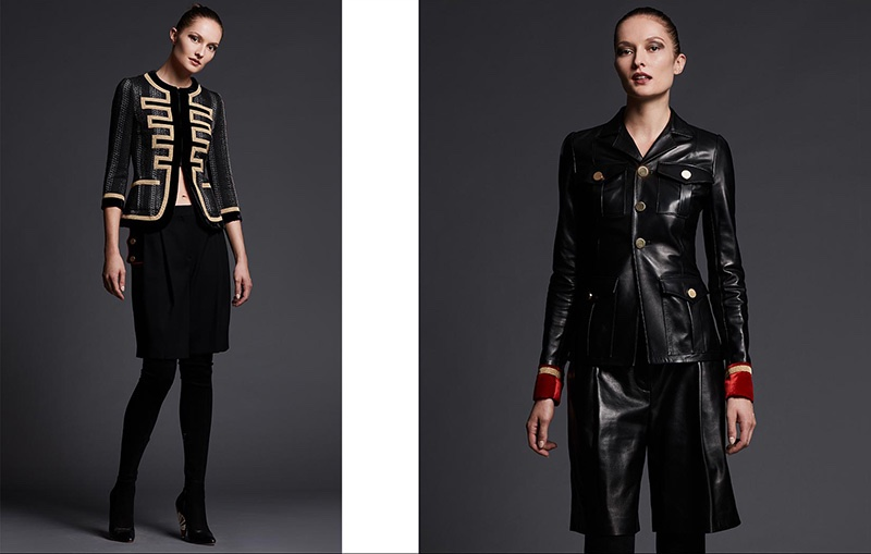 (Left) Givenchy 3/4-Sleeve Metallic-Striped Military Jacket, Tab-Waist Shorts W/Contrast Piping and Podium Suede Enamel-Heel Over-The-Knee Boot (Right) Givenchy Leather Jacket w/Velvet Cuffs and Long Leather Shorts
