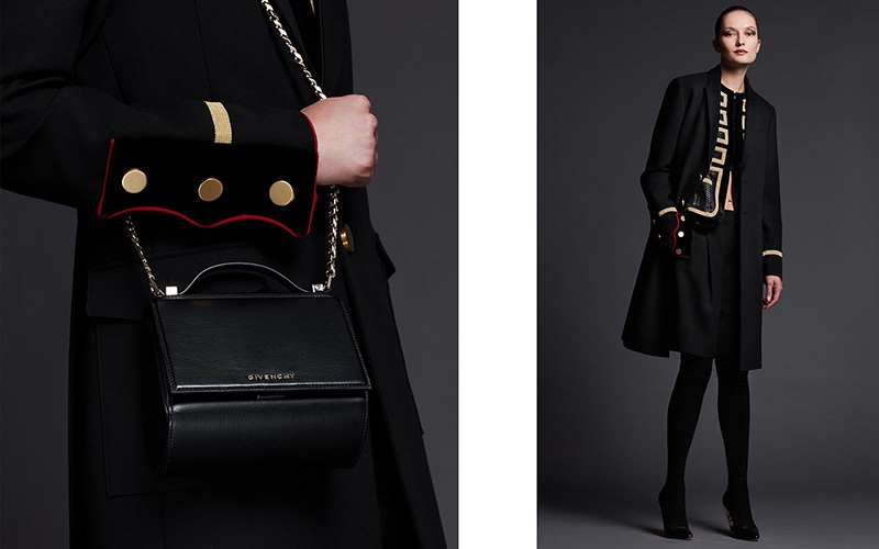 (Left) Givenchy Pandora Box Mini Palma Crossbody Bag (Right) Givenchy Two-Button Long Military Coat, 3/4-Sleeve Metallic-Striped Military Jacket, Tab-Waist Shorts W/Contrast Piping and Podium Suede Enamel-Heel Over-The-Knee Boot