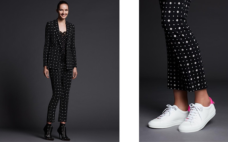 (Left) Givenchy Printed One-Button Cady Blazer, Printed Cady Straight Leg Cropped Pants and Iron Line Basketweave Leather Boot (Right) Givenchy Devon Leather Low-Top Sneaker