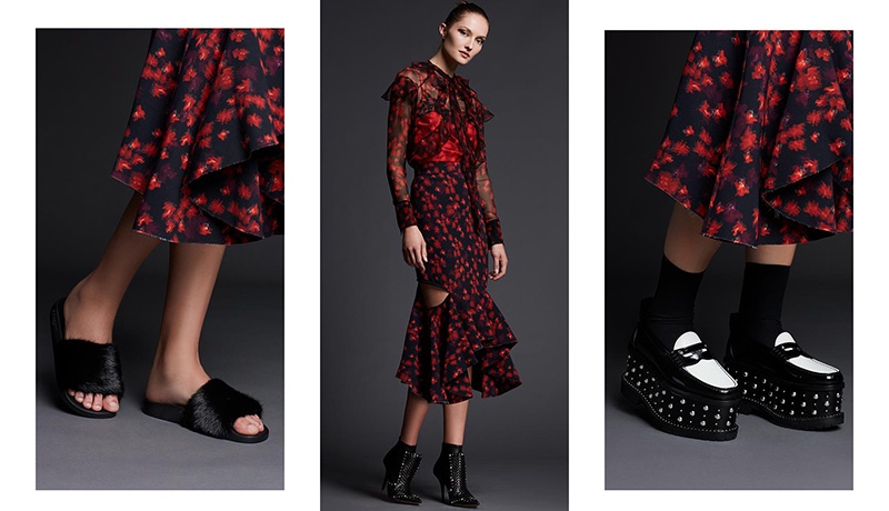 (Left) Givenchy Mink Fur & Rubber Slide Sandal (Middle) Givenchy Long-Sleeve Floral-Print Chiffon Dress and Iron Line Basketweave Leather Boot (Right) Givenchy Cambridge Studded Platform Loafer