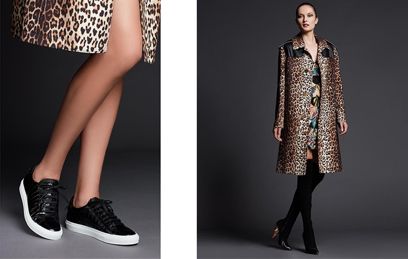 (Left) Givenchy Croc-Embossed Low-Top Sneaker (Right) Givenchy Oversized Leopard-Print Wool Coat, Sleeveless Optical Wings Print Sheath Dress and Podium Suede Enamel-Heel Over-The-Knee Boot