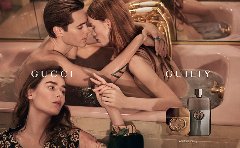 Gucci's Guilty fragrance gets a new look with actor Jared Leto and models Julia Hafstrom, Vera Van Erp