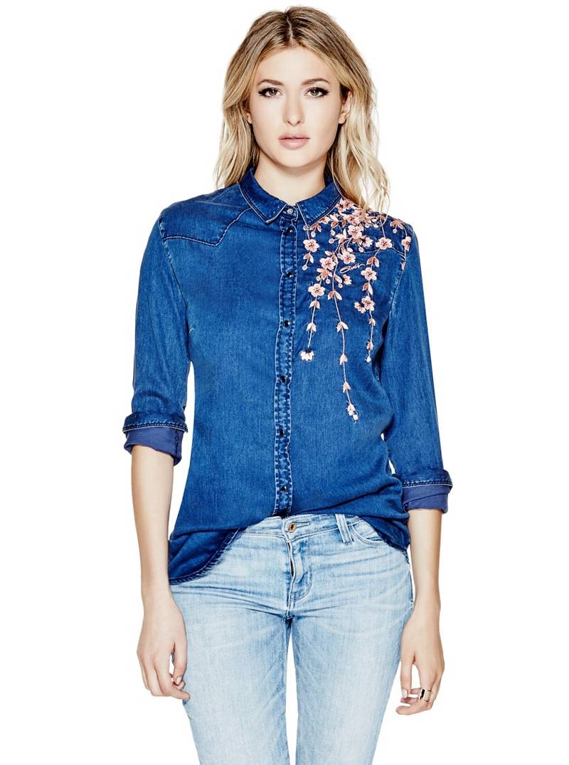 Guess Denim Boyfriend Shirt in Blossom