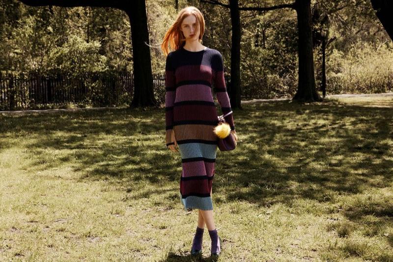 H&M Rib-Knit Dress, Pom-Pom Handbag, Glittery Socks and Crocodile-Patterned Pumps