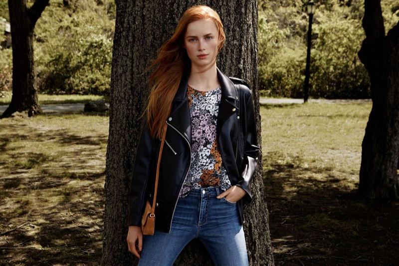H&M Biker Jacket, Short-Sleeved Blouse, Slim Regular Jeans and Suede Shoulder Bag