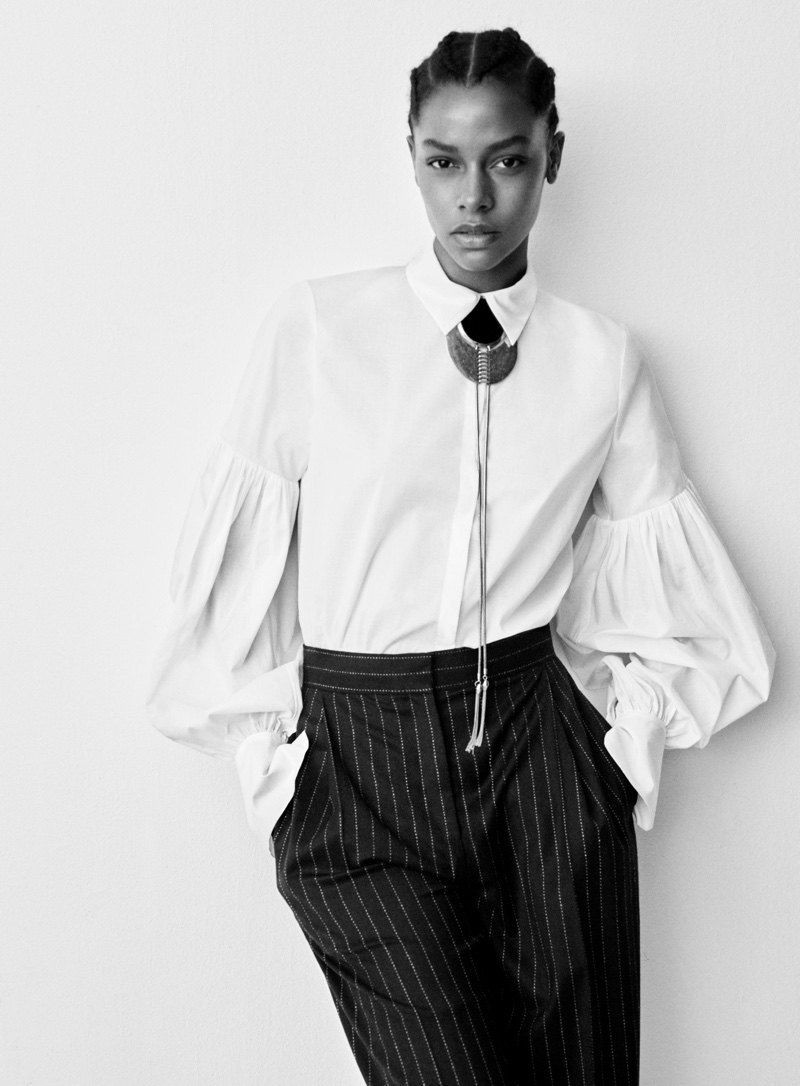 H&M Studio Fall 2016: Karly Loyce wears white blouse with pinstripe pants