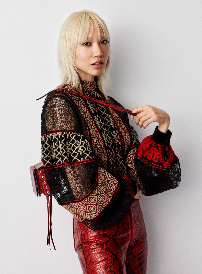 H&M Studio Fall 2016: Soo Joo Park wears embellished blouse with red python print pants
