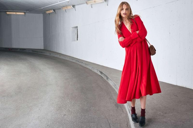H&M Calf-Length Dress and Small Shoulder Bag