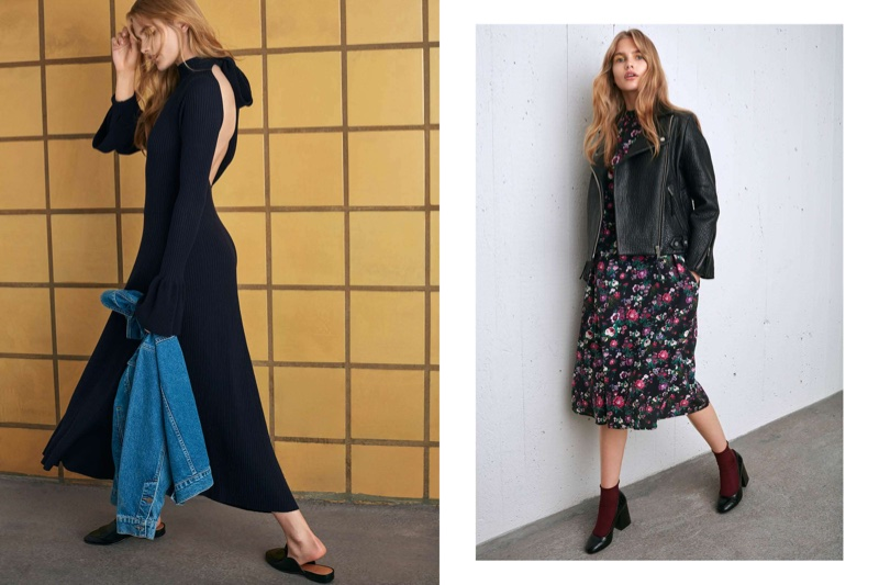 (Left) H&M Ribbed Dress with Flounces and Oversized Denim Jacket (Right) H&M Leather Biker Jacket and Patterned Dress