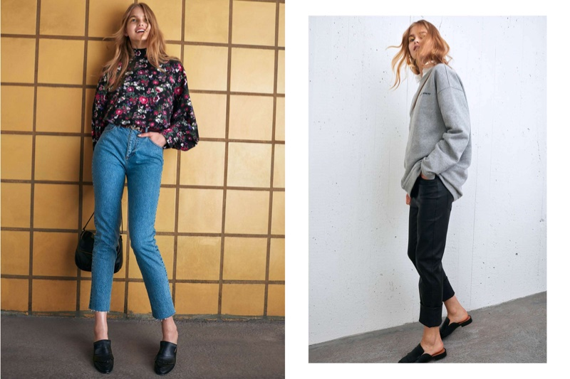 (Left) H&M Wide-cut Blouse, High Waist Jeans and Shoulder Bag (Right) H&M Oversized Sweatshirt and Leather Pants