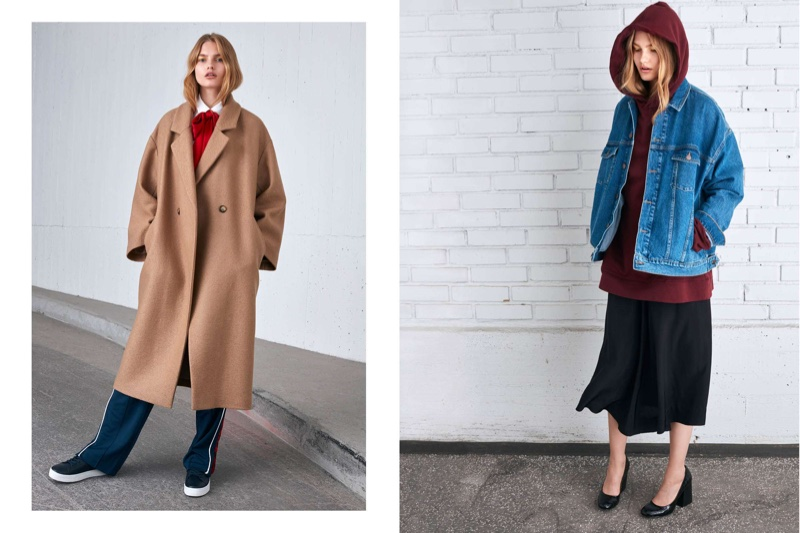 (Left) H&M Oversized Coat, Oversized Cotton Shirt, Narrow Satin Scarf and Track Pants (Right) H&M Oversized Denim Jacket, Oversized Hooded Sweatshirt and Calf-Length Skirt