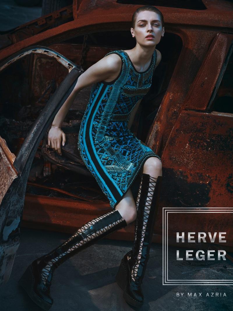 Daga Ziober stars in Herve Leger's fall-winter 2016 campaign