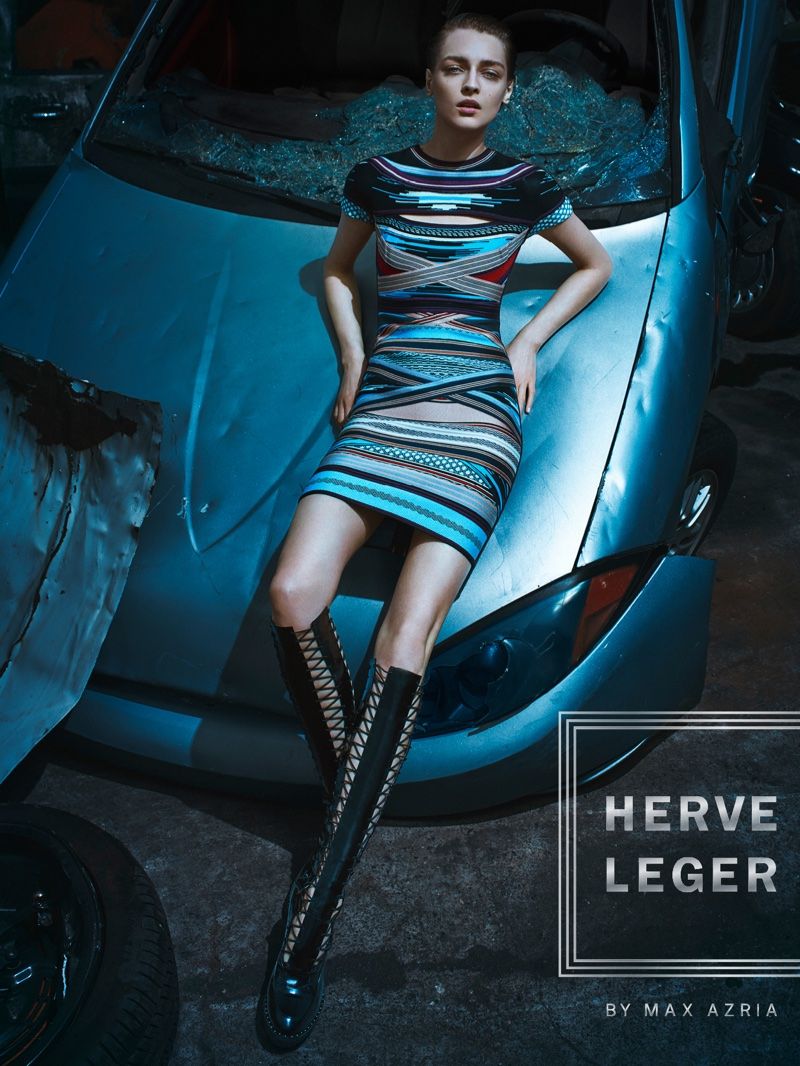 Herve Leger features multi-colored stripe dress in fall 2016 campaign