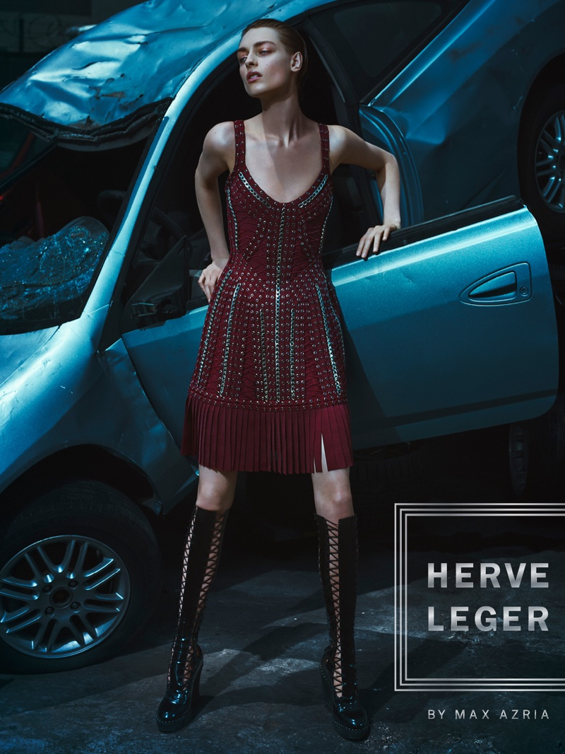 Herve Leger's fall 2016 advertisements feature fringe adorned dress