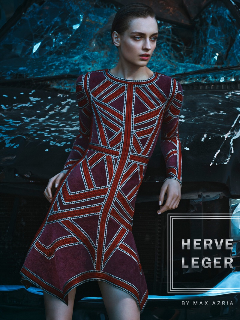 Herve Leger spotlights geometric striped dress for fall 2016 advertising campaign